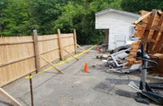 Garage sawed in half in Maine property dispute.