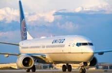 United airplane on runway