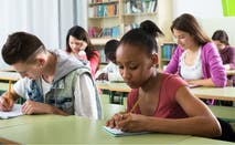 High school students working on a test