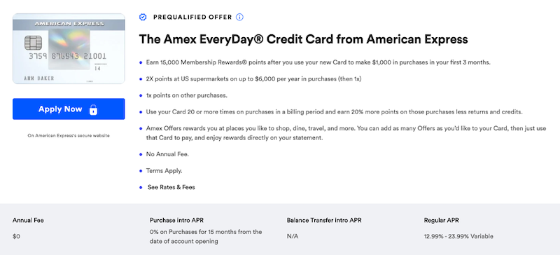 Amex Everyday Card CardMatch offer
