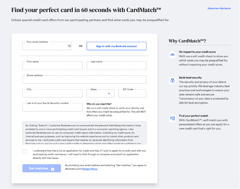 CardMatch signup page