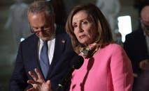 House Speaker Nancy Pelosi and Senate Minority Leader Chuck Schumer speak on Capitol Hill.