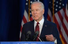 Joe Biden speaks at a podium