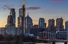 The Philly skyline at sunset.