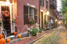 Row houses decorated for Halloween.